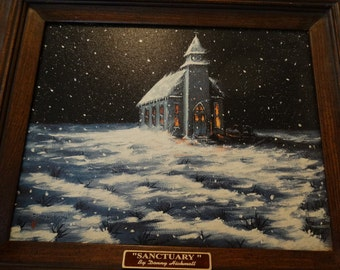 "Limited Edition Giclee' framed print by Donny Hickmott of Texas, ""Sanctuary"" Church on winter's night, falling snow, Folk Art, Cowboy, Horse"