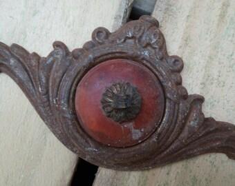 Vintage Ornate Drawer Pull, Art Decor Metal & Plastic, Resin, Bakelite Chest on Chest Drawer Handles Dresser Drawer Oval handle pull - Lot 3