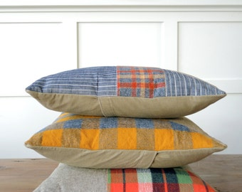 Modern Decorative Pillow in Linen/Flanned/Denim