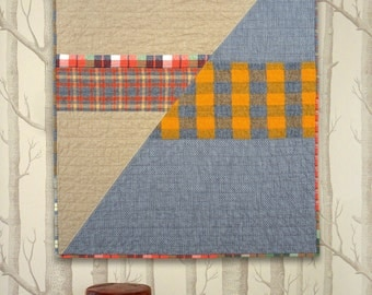 SALE! Linen + Flannel + Denim, Oh My! #1  Modern quilted blanket for babies, pets, laps and more