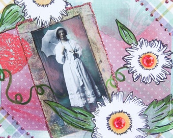 Handmade Altered Art Folded Greeting Card, Size 5x7, Blank Inside, Floral, Woman w/Parasol