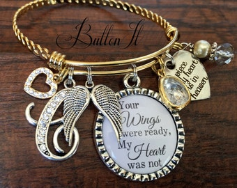 SYMPATHY gift, GOLD bangle, In memory of, Remembrance jewelry, remembrance gifts, angel wings, a piece of my heart is in heaven, Memorial