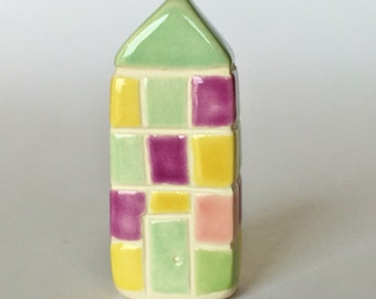 Easter Quilt Little Clay House White  Multicolor Plaid Checkers Miniature Brick Ceramic
