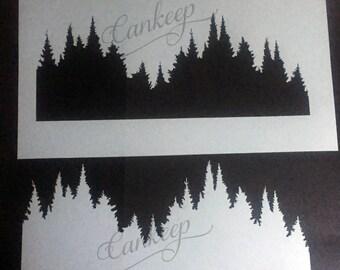 "Woodland Mountains -Stencil  - 6""x10.5""   Stencils by cankeep"