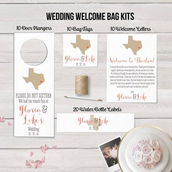 Wedding Gift Bag Welcome Message : Wedding Welcome Bag Kits, Rustic Wedding Favor, State Themed Wedding ...