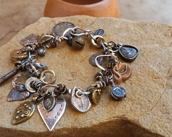 Rustic Taos Charm Bracelet + Antique and Vintage Metal Charms + Mixed Metal + Wabi Sabi
