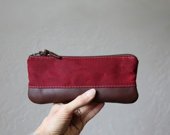 Pencil Pouch in Cranberry Waxed Canvas and Leather // Zipper Case
