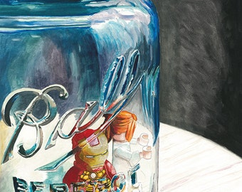 TRAPPED Iron Man and Pepper Ball Jar vintage ORIGINAL watercolor painting by Redstreake