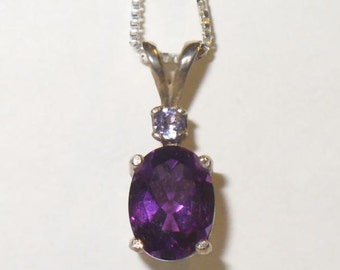 Natural Amethyst Pendant Necklace in Sterling Silver with Tanzanite Accent