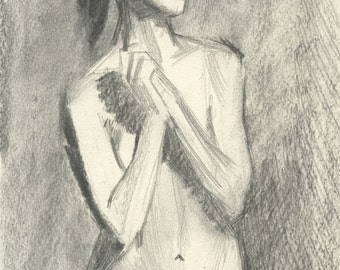 Original Charcoal Gesture Sketch Life Drawing of Standing Female Nude Figure - Robyn with Clasped Hands