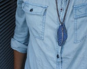 SALE. Wind. Feather necklace. Artisan sculpted, ceramic and coppertone chain. Long, blue pendant, copper chain with clasp