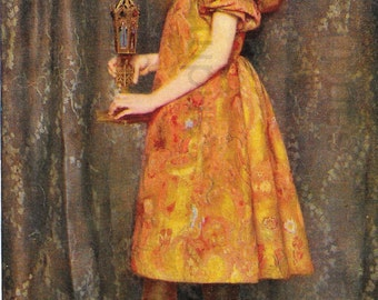 The Heir of all the Ages Thomas Cooper Gotch Victorian Pre Raphaelite Portrait of a Girl Chromolithograph