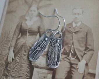 skeleton and widow earrings - sterling silver wax seal dangle earrings - mr. and mrs. schondel earrings - memento mori wax seal jewelry