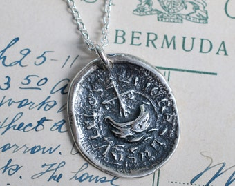 rustic ship wax seal necklace pendant … courage, adventure, spirit - medieval wax seal jewelry in fine silver