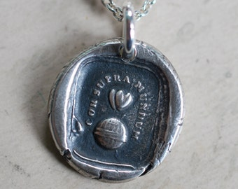 two hearts above the world wax seal necklace pendant … happiness is - Latin motto silver antique wax seal jewelry