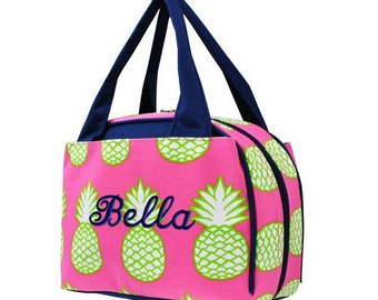 Personalized Lunch Bag Pineapple Insulated Monogrammed Girls School Snack