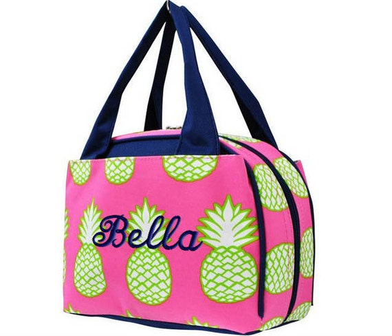 personalized lunch bag pineapple insulated monogrammed girls