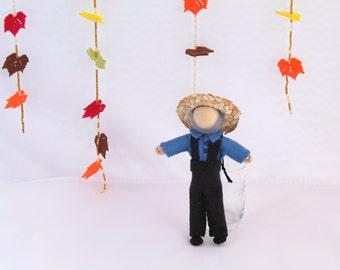 Felt Art Doll - Piksee Dresses Up as Pilgrim for Thanksgiving, felt hanging ornament, felt decoration