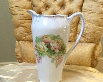 White Bavaria W. Germany Rose Coffee Tea Large Pitcher