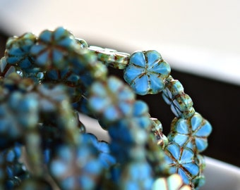 Quiet Whispers - Czech Glass Beads, Denim Blue Silk, Picasso, Small Flowers 10mm - Pc 10