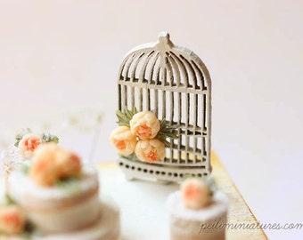 Dollhouse Miniature Bird Cage Flower Decoration