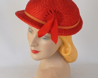 Vintage 1950s Hat Bowler Style Small Brim in Red Straw by Betmar Sz 21