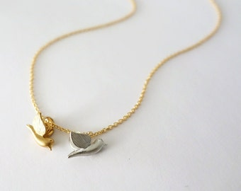 Gold Love Bird Necklace / Birds Of A Feather Stick Together