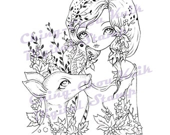 Deer Autumn - Instant Download / Fall Forest Woods Leaves Berry Animal Bird Fawn Fantasy Fairy Girl Art by Ching-Chou Kuik