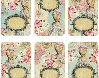 Instant Download  - Marie Antoinette  - ACEO - Digital Download - Printable  Digital Collage Sheet