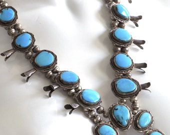 SALE 500 OFF - Sleeping Beauty Turquoise Squash Blossom Necklace Navajo Native American Vintage