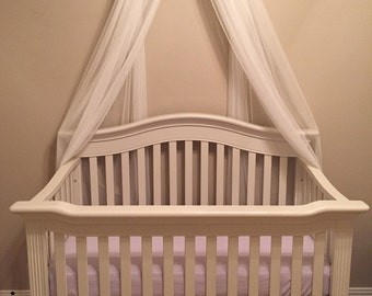 Princess Bed Canopy Crown Valance Fairy Lavender Petite Bows SaLe WHITE SHEERS INCLUDED