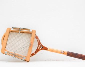 davis hi-point wooden tennis racquet with maxima wood lever press / vintage wood TAD tennis racket