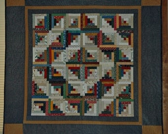 Country Log Cabin Quilted Wall Hanging