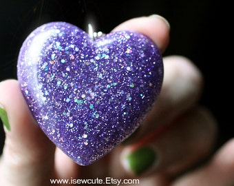 Big Huge Statement Necklace - Resin Pendant - Glitter Heart Necklace - Amethyst Purple Necklace, Cute Hand Crafted Resin Jewelry by isewcute