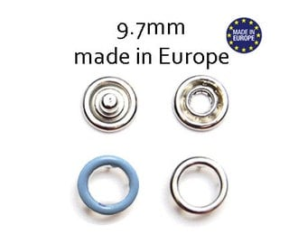 25 sets Blue Snap Fasteners 9.7MM. open cap snaps. baby clothes snaps. baby fasteners. no sew snap buttons. metal prong snaps #700233