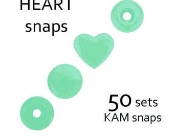 50 sets B19 Mint Heart KAM Snaps. size 20 plastic snap fastener. kam plastic snaps. resin snap button. diaper snaps. bib snaps. #700271