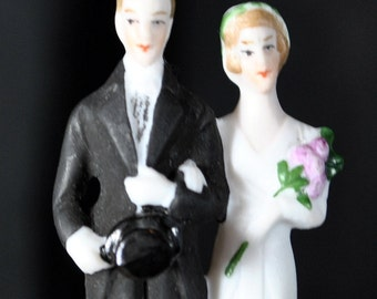 Vintage Art Deco Tiny Wedding Cake Topper...Bridal....Wedding...Made in Germany - 1930s