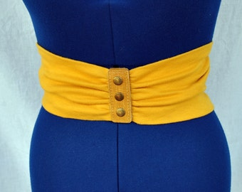 Vintage Gold Jersey Wide Belt with Faux Leather Snap Closure Buckle