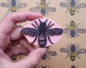 Large Bee - Hand Carved Rubber Stamp