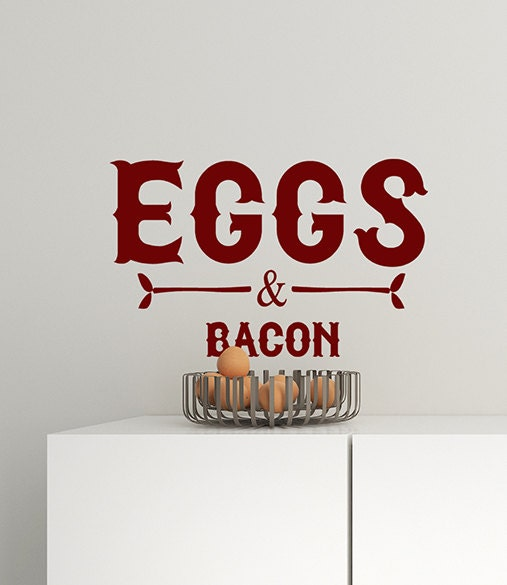 Farmhouse Kitchen Wall Decor Eggs and Bacon Vinyl Decal