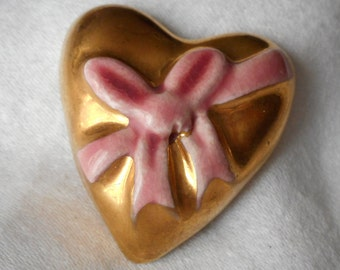Chunky Gold Painted Pink Bow Realistic Heart Ceramic BUTTON