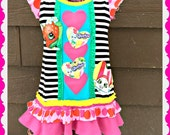 girls Shopkins dress Apple Blossom Smart Cookie Cupcake Lippy Lips Dress 3T and 14