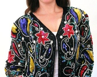 Flower Power, Club Kid 80s Sequin Top, Beaded Jacket M, Beaded Top, Colorful Silk Trophy 80s Party Top