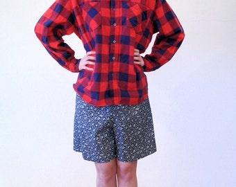 Sarajean, 80s Buffalo Plaid Shirt XL, Red Flannel Boyfriend Shirt, Red Grunge Plaid Shirt, Retro Flannel Shirt Extra Large