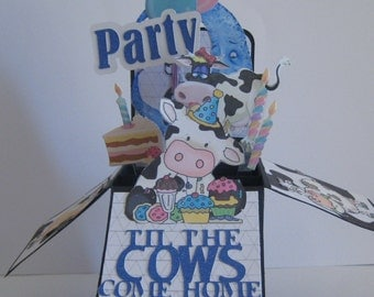 Birthday Party pop up card - Party til the Cows come home card - card in a box