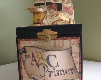 ABC Primer Altered cigar box - School keepsake box - Teachers gift - Childs room decor