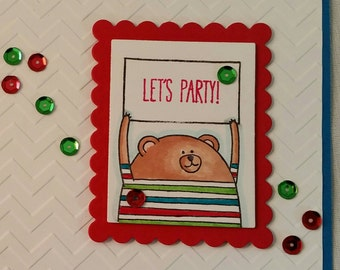 Teddy Bear Let's Party Birthday Celebration Card with Sequins