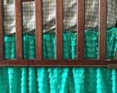 Mint Ruffle Crib Skirt - Mint Dust Ruffle - Mint Green Crib Skirt- Mint Nursery- Baby Girl Crib Bedding- Modern Crib Bedding Long Crib Skirt