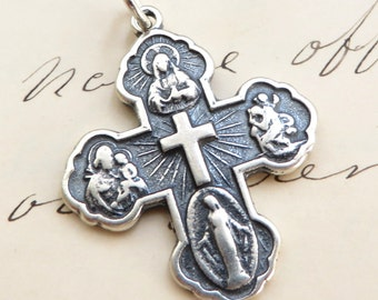 Sterling Silver Four Way / Five Way Cross - Antique Reproduction - 4 Way / 5 Way Cross