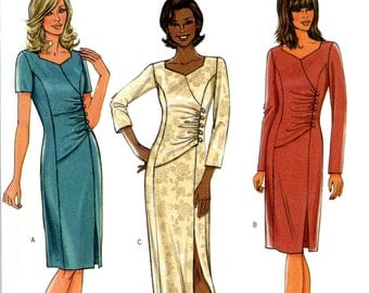 Butterick B4283 Easy Side Gathered Dress with Sweetheart Neckline Evening Prom Size 6 8 10 12 Uncut Sewing Pattern 2004
